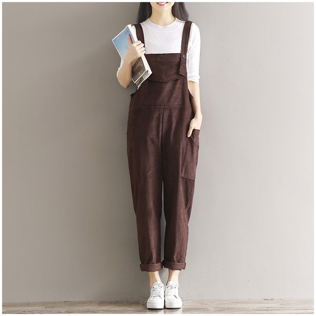 59f826b8802 2018 Autumn Winter Solid Color Overalls Mori Girl Corduroy Pants Japanese  Simple Casual Trouser Pocket Pants
