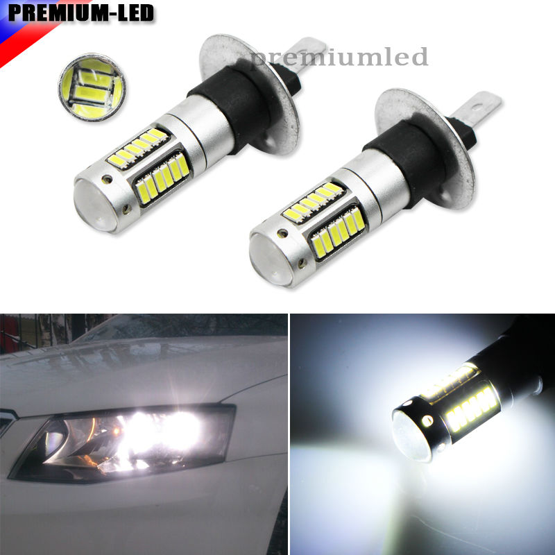 2pcs High Power 6000K White 30-SMD 4014 H1 LED Replacement Bulbs For Car Fog Lights, Daytime Running Lights, DRL Lamps 2pcs high power xenon white 30 smd 4014 h3 led replacement bulbs for car fog lights daytime running lights drl lamps