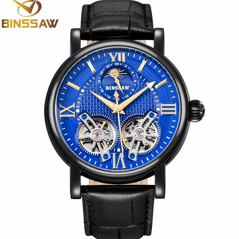 BINSSAW Double Tourbillon Automatic Mechanical Men Steel Watch Fashion Luxury Brand Leather Business Watches Relogio Masculino