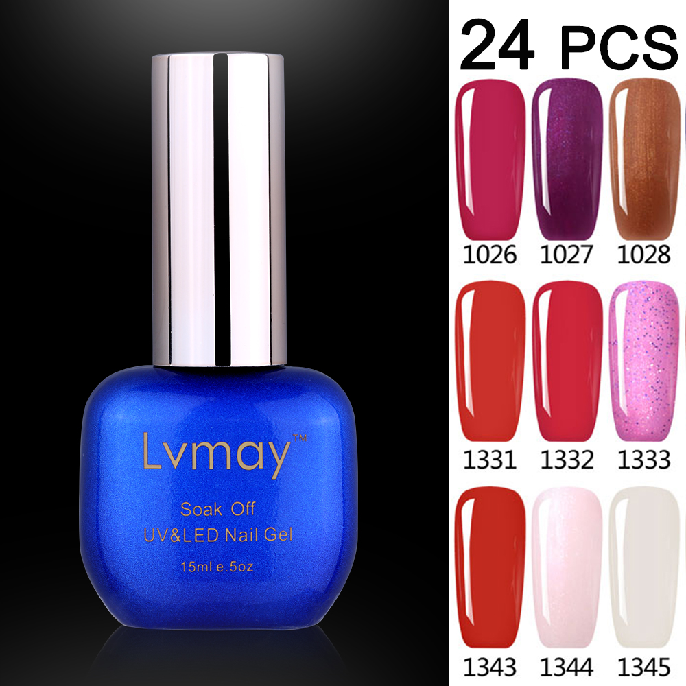 24 Jars Lvmay Gelpolish 15ml Nail Art Design Gel Nail Polish Beauty Colors Professional Nails Lacquer Packing Well No Leak