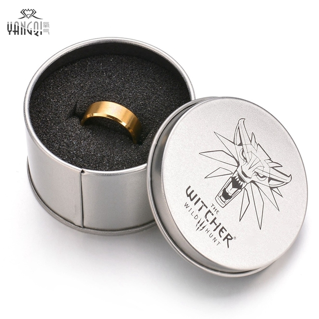 Hot Game The Witcher 3 Ring Wild Hunt Medallion Gold Stainless Steel Black Bike Rings for Men Punk Wolf Ring with Iron Gifts Box