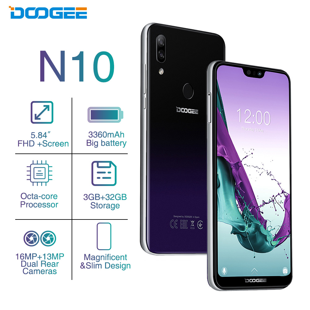 DOOGEE N10 Octa-Core 3GB RAM 32GB ROM Smartphone Android 8.1 5.84inch FHD+ 19:9 Display 16.0MP Camera 3360mAh Mobile PhoneDOOGEE N10 Octa-Core 3GB RAM 32GB ROM Smartphone Android 8.1 5.84inch FHD+ 19:9 Display 16.0MP Camera 3360mAh Mobile Phone
