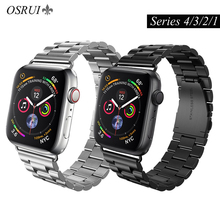 все цены на OSRUI stainless steel strap For Apple watch 4 band 44mm 40mm correa aplle 42mm 38mm iwatch series 3/2/1 link bracelet wrist belt онлайн