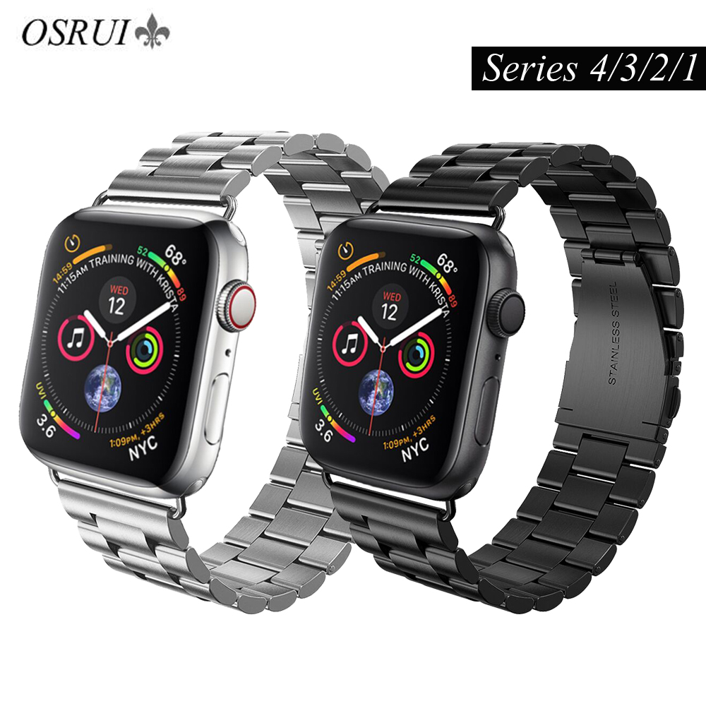 OSRUI stainless steel strap For <font><b>Apple</b></font> <font><b>watch</b></font> 4 band 44mm 40mm <font><b>correa</b></font> aplle <font><b>42mm</b></font> 38mm iwatch series <font><b>3</b></font>/2/1 link bracelet wrist belt image