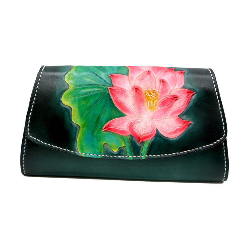 Chinese Style Genuine Leather Handbag Clutch Women Lotus Handbags Messenger Bags Shoulder Lady Vegetable Tanned Leather Bag in Shoulder Bags from Luggage Bags