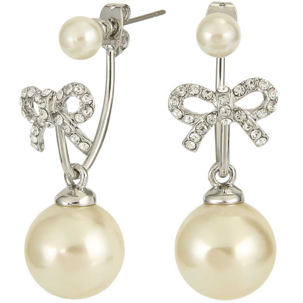 Bella Fashion Silver Plated Bowknot Bridal Earrings Ivory Simulated Pearl  Dangle Earrings Jacket Wedding Women Party