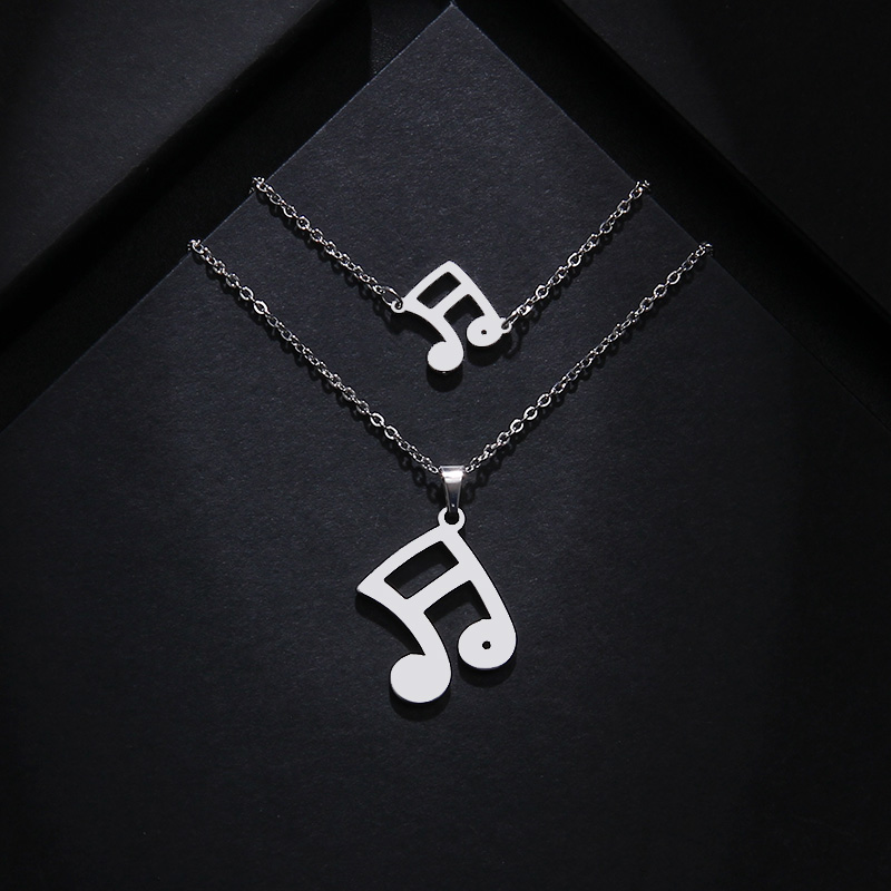 Stainless Steel Set Musical Notes Necklace Bracelets Earrings IMG_1094