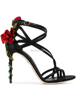 Sweet Red Rose Flower Sandals Sexy Dress Wedding Shoes Women Ankle Strap High Heels Sandals Floral Shoes