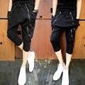 Повседневная Хип-Хоп Большие промежности шаровары Черный мужские мешочки Брюки мужские тощий штаны персонализированные Молнии тонкий Капри