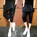 Casual Hip Hop Big crotch harem Pants Black male baggies Trousers mens skinny sweatpants personalized  Zipper slim Capri