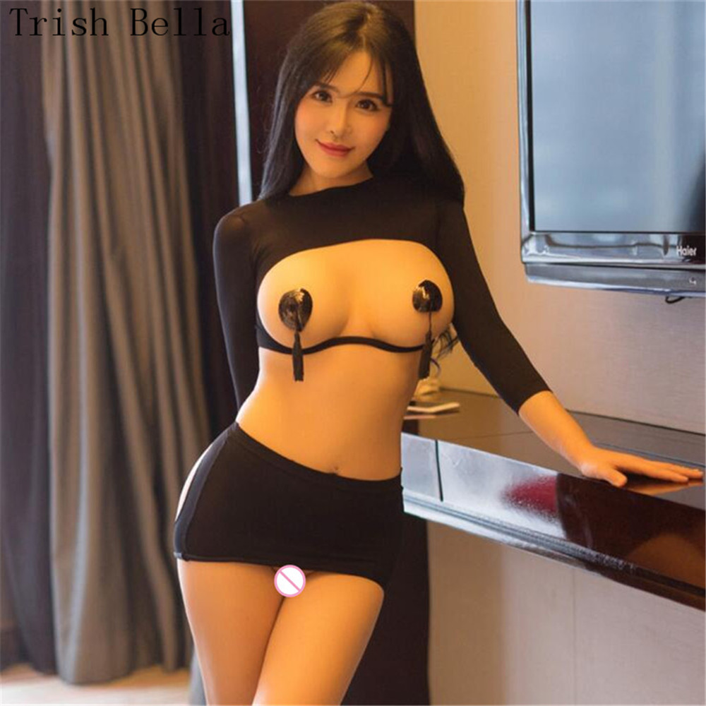 Transparent Pure Color Hollow Out Dew Buttocks Long Sleeves Erotic Lingerie Sexy Costumes Babydoll Open Bra Langeri Sexy Costume