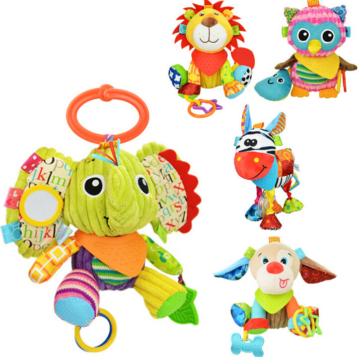 sozzy multifunction Infant Animal Plush Toys baby  Sound Paper and Teether Toy Stroller Appease for Newborn 20%Off soft infant crib bed stroller toy spiral baby toys for newborns car seat hanging bebe bell educational rattle toy for gift