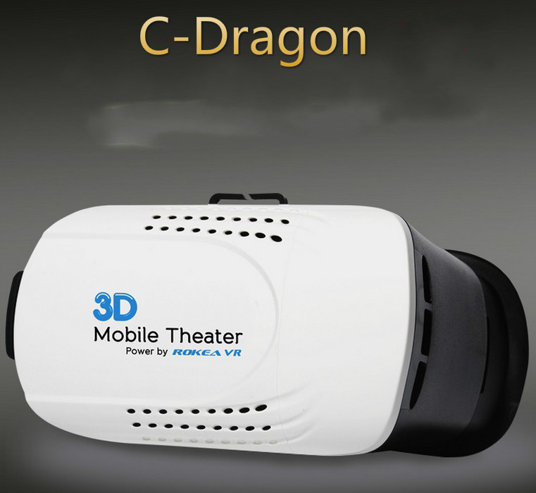 C Dragon Head Mount Plastic Version 3D VR Virtual Reality Glasses Google Cardboard Movies Games for