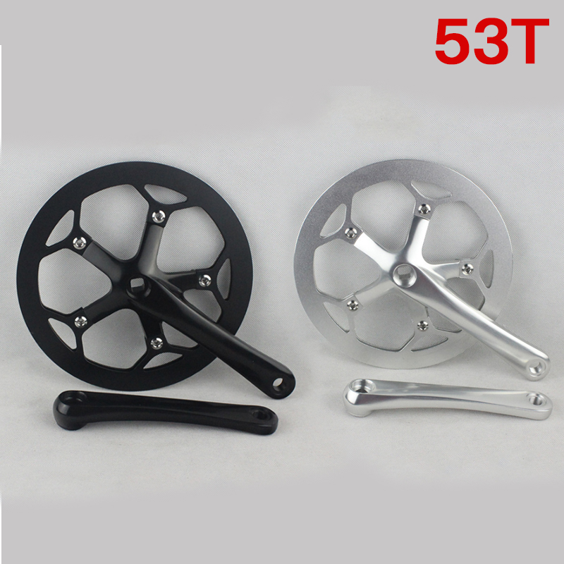 Folding Bicycle Bike 53T Chain Wheel Dental Plate Fixed Gear Aluminum alloy Cycling Single Speed  Crankset Crank Dental plate west biking bike chain wheel 39 53t bicycle crank 170 175mm fit speed 9 mtb road bike cycling bicycle crank