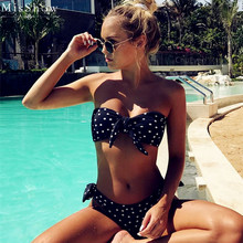MisShow 2019 Sexy Dot Bikinis Set Front Tie Knot Swimwear Mid Bandeau Women Swimsuit Brazilian Beach Bathing Suit Biquini