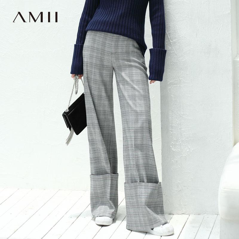 Amii Minimalist Plaid   Wide     Leg     Pants   Women Autumn Winter 2019 Causal Loose High Waist Harem   Pants   Female Long Plaid Trousers