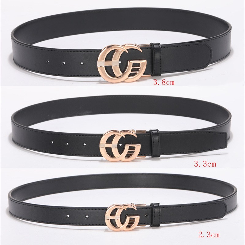 2.3cm/3.3cm/3.8cm Black Cowhide Belts for Men Women Smooth Buckle Designer Luxury Straps