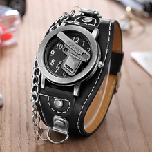 Hot Sales O.T.SEA Brand Gun Skull Leather Watches Luxury Men Women Punk Sports Q