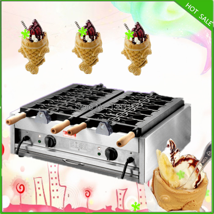 18 free shipping  2 plates electric ice cream taiyaki machine open mouth taiyaki machine free shipping electric ice crusher block shaving machine shaved ice machine