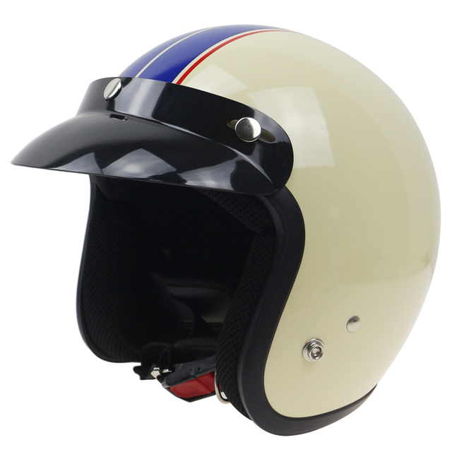 3/4 open face motorbike helmet JET style helmet with visor and 3 pin buckle ABS shell quick release system City Helmet