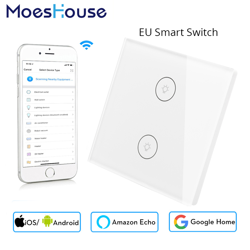 Mini Wifi Smart Wall Switch EU Glass Panel 2 Gang Mobile APP Remote Control Works With Amazon Alexa Google Home No Hub Required
