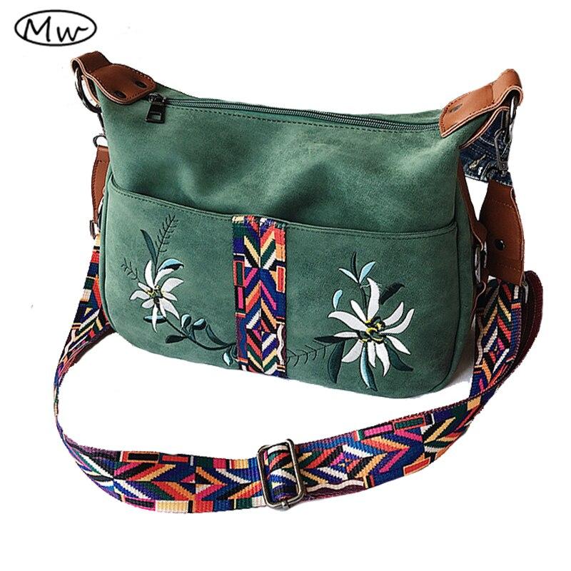 Moon Wood Brand Hobos Bag National Wind Colorful Wide Strap Shoulder Bag Women Leather Scrub Messenger Bag Crossbody Bags Bolsos