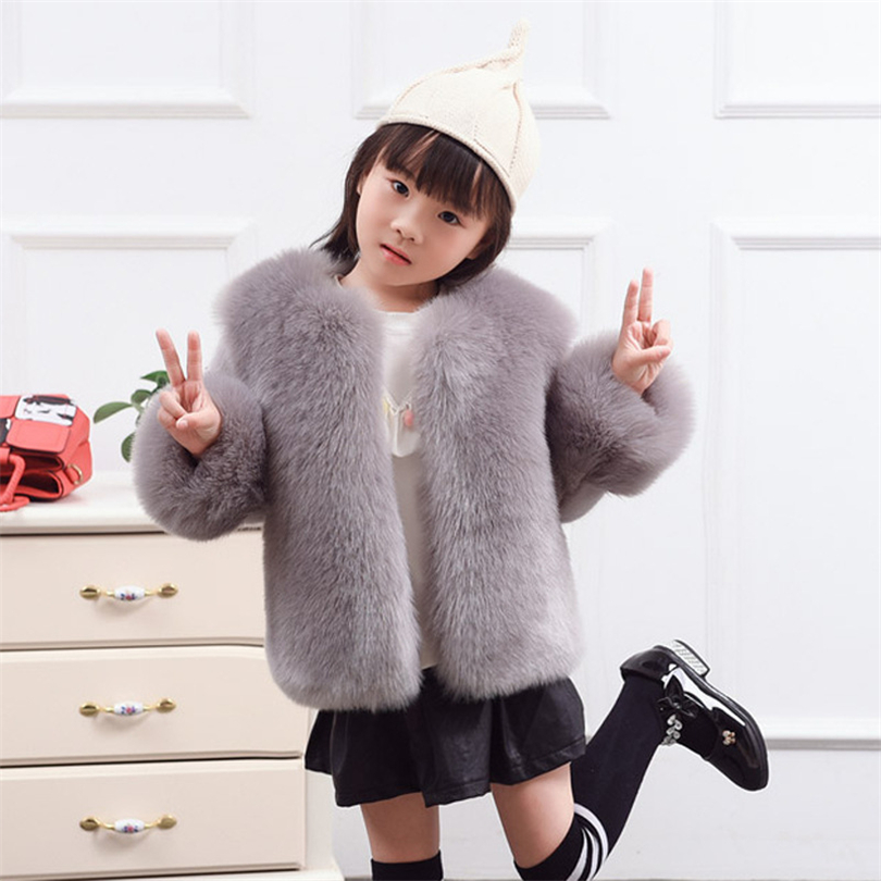 2017 Children Real Fox Fur Vest Autumn Winter Warm Girls Waistcoats Short Thick Vests Kids Gray Color Natural Casual Vest T003 new autumn winter parent child women red fox fur hats warm knitted beanies real fur cap high quality kitting female fur hat