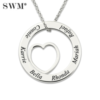 Women's Custom Name Necklace Silver 925 Costume Family Names Necklaces Love Heart Circle Letter Chain Jewelry for Mom Grandma