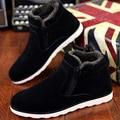 Размер 37-47 Осень зима мужчины теплый снег сапоги Повседневная с короткими плюшевые ботильоны Высота Увеличение резиновые zip мужская обувь