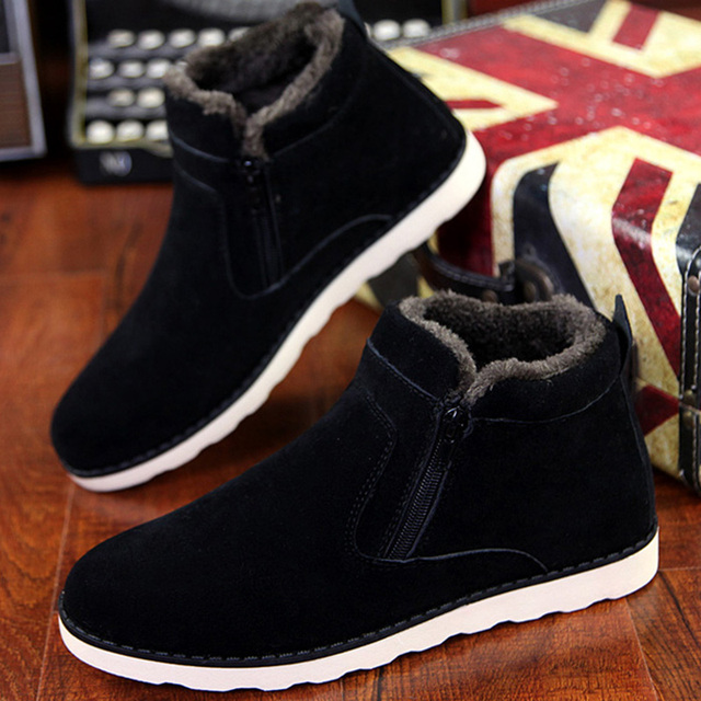 9b0e051cbc7 Size 37 45 Autumn winter men warm snow boots Casual with short plush ankle  boots Height Increasing rubber zip men shoes Z194-in Snow Boots from Shoes