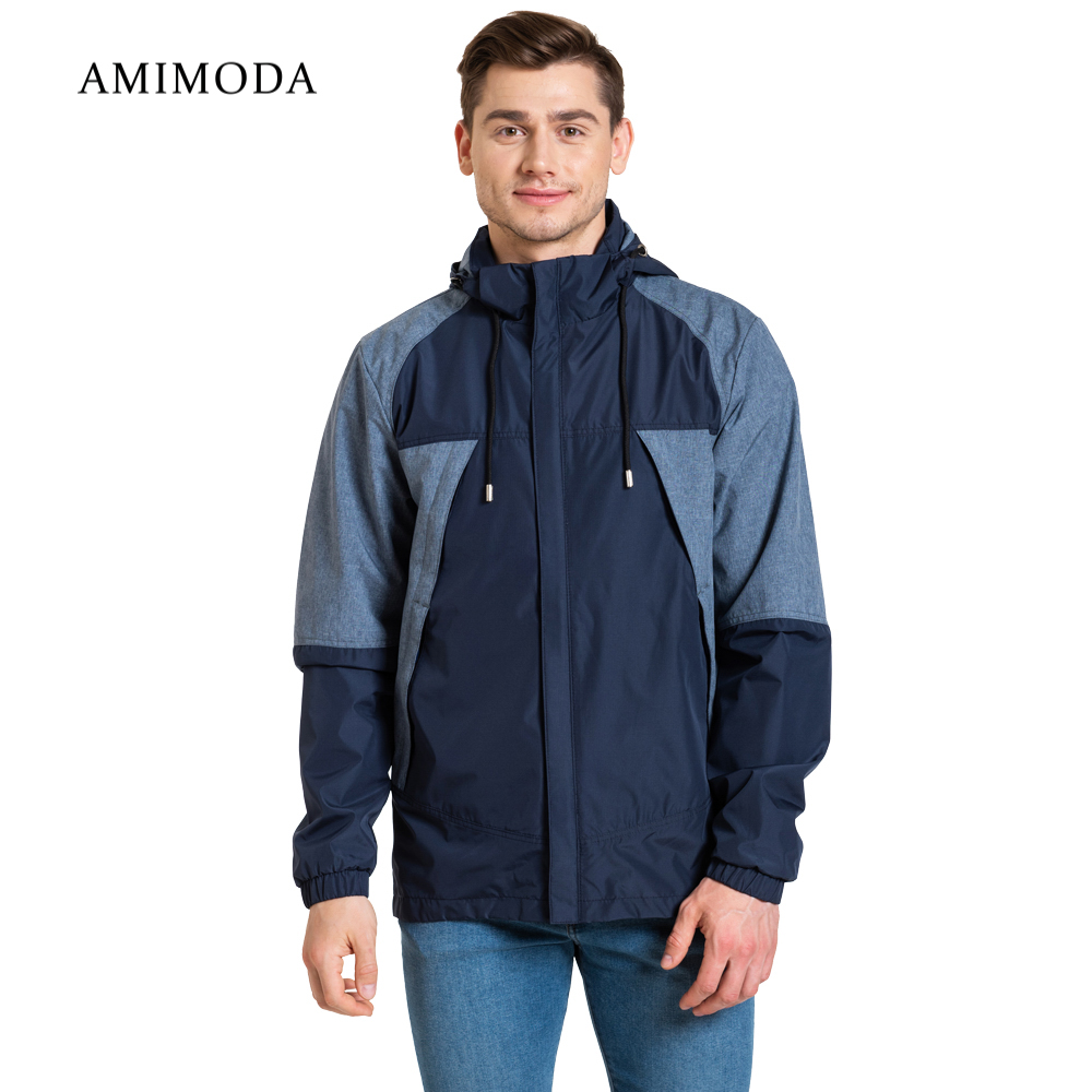 Jackets Amimoda 10013-0208 Men\'s Clothing windbreakers for men  cloak jacket coat parkas hooded self tie waist solid hooded coat
