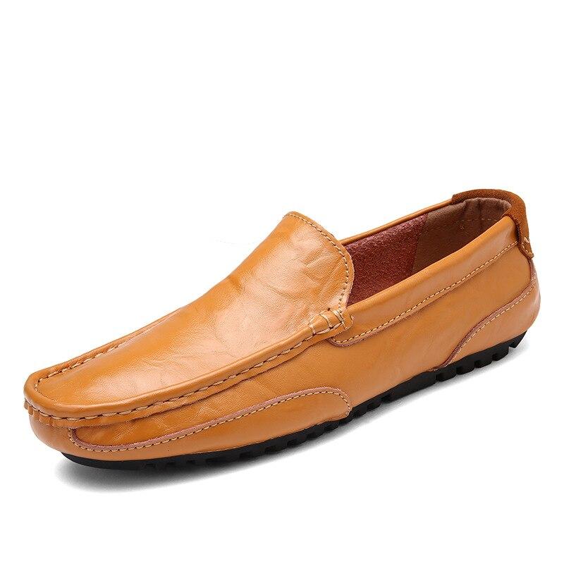 sur Cuir brown Chaussures Sapatos Mocassins Masculino Chaussures blue Slip Conduite Souple Hommes En Homme Qffaz Black Pour De Casual Plat Iwxqp6WHf