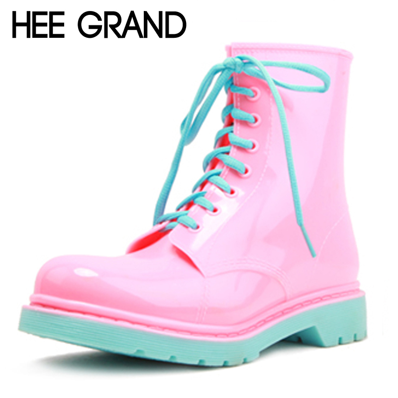 ФОТО HEE GRAND 2017 Rain Boots Candy Colors Platform Women Ankle Boots Lace-Up Casual Shoes Woman Pink Women Flats Shoes XWX4145