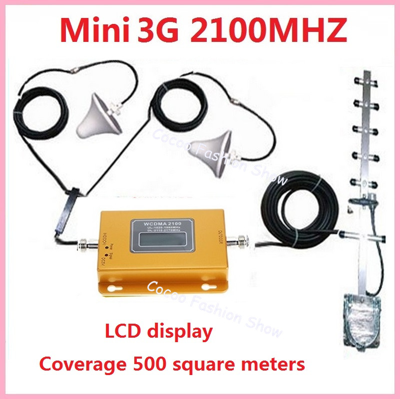 LCD display !!! 3G UMTS WCDMA 2100Mhz booster +2 indoor Antenna , Cellular repeater signal amplifier kits