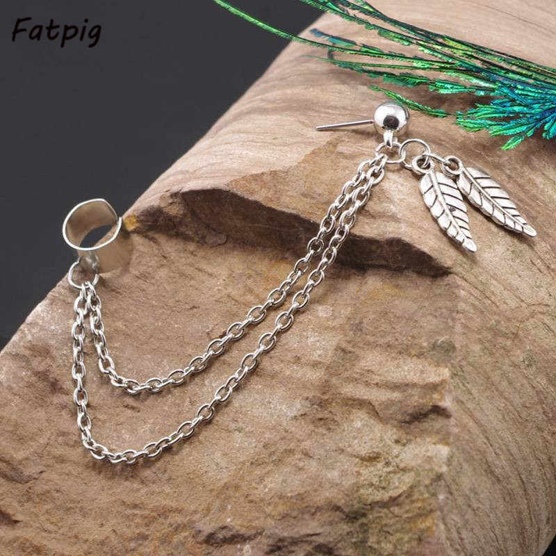 2pcs/set Women Fashion Double Leaf Cool Rock Punk Leaf Tassel Chain Ear Wrap Cuff Stud