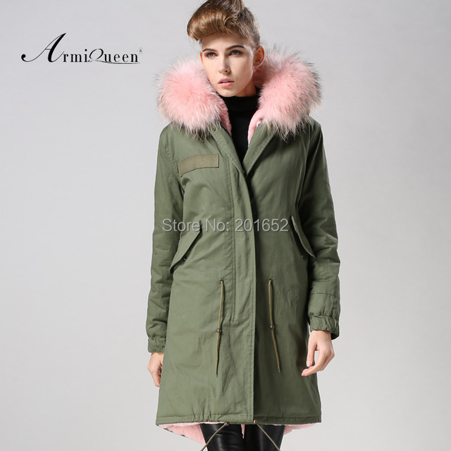 Factory wholesale price Women's Vintage Retro Fur Hooded Military Parka Jacket Coat with pink lined and collar fur mr 2