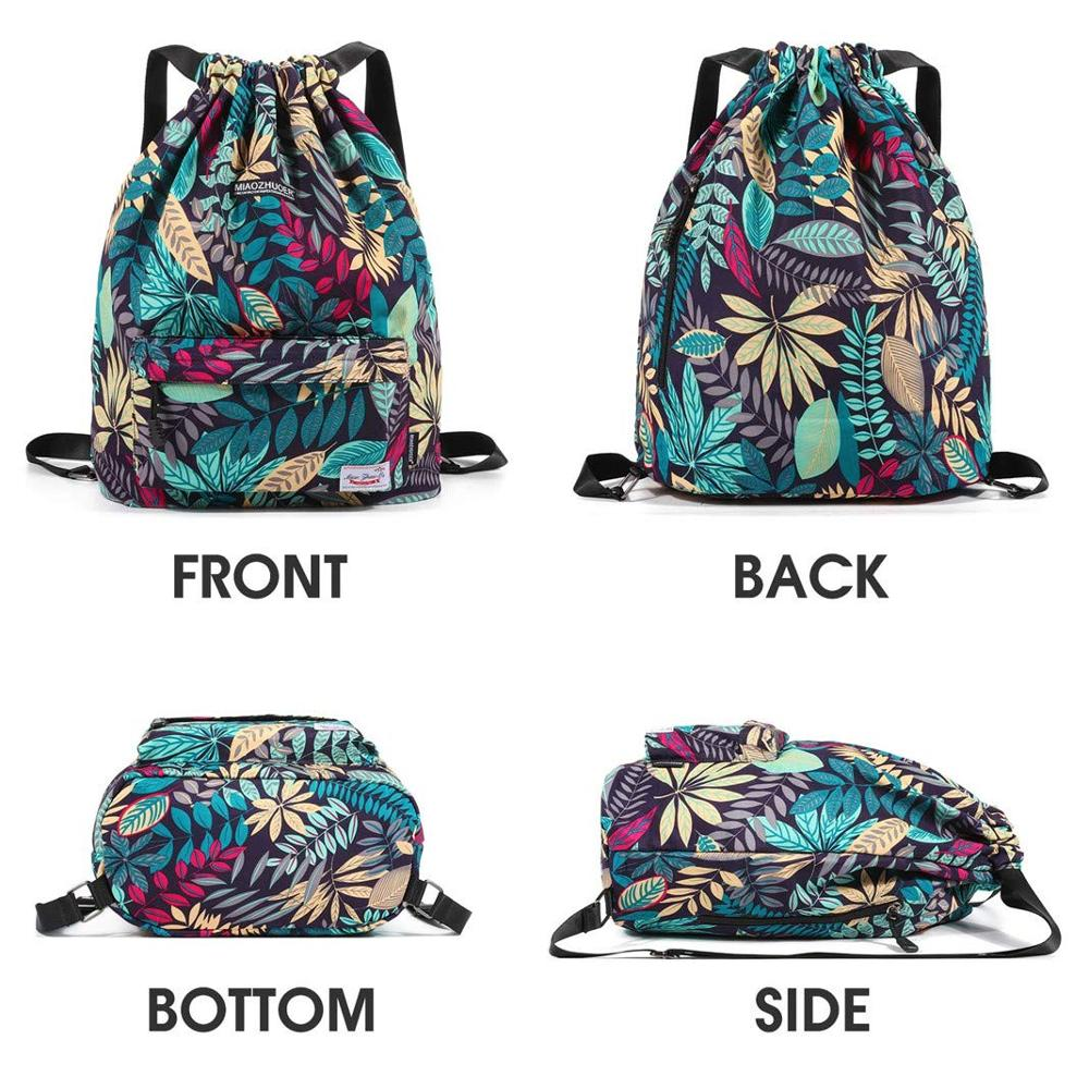 Hot DealsBackpack Shoes-Storage Sports-Bags Leaf-Pattern Fitness-Training Outdoor Women for Gym