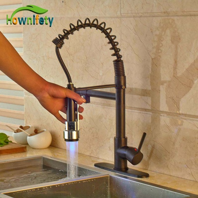 Oil Rubbed Bronze Kitchen Sink Double With Drainboard Aliexpress Com Buy Elegant 3 Color Changing Faucet Pull Out Sprayer Mixer W