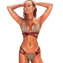 Snake Skin Print Bikini Set 2016 Strings Strappy Bandage Sexy Push Up Swimwear Women Bathing Suit Maillot De Bain Femme S-XL