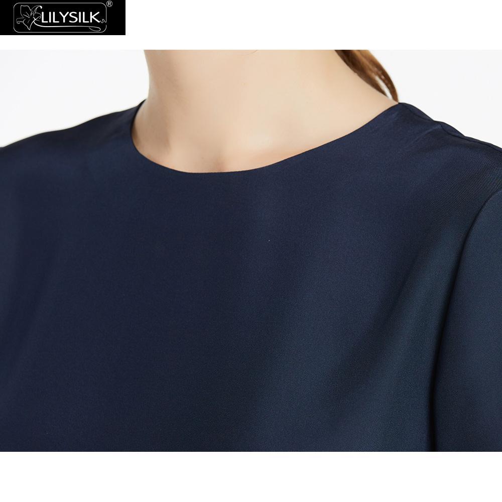 LilySilk Silk Blouse Women Top Shirt Short Sleeve Tee Ladies Pure Nature Mulberry Round Collar Button Slit Back Closure Elegant Women Women's Blouses Women's Clothings