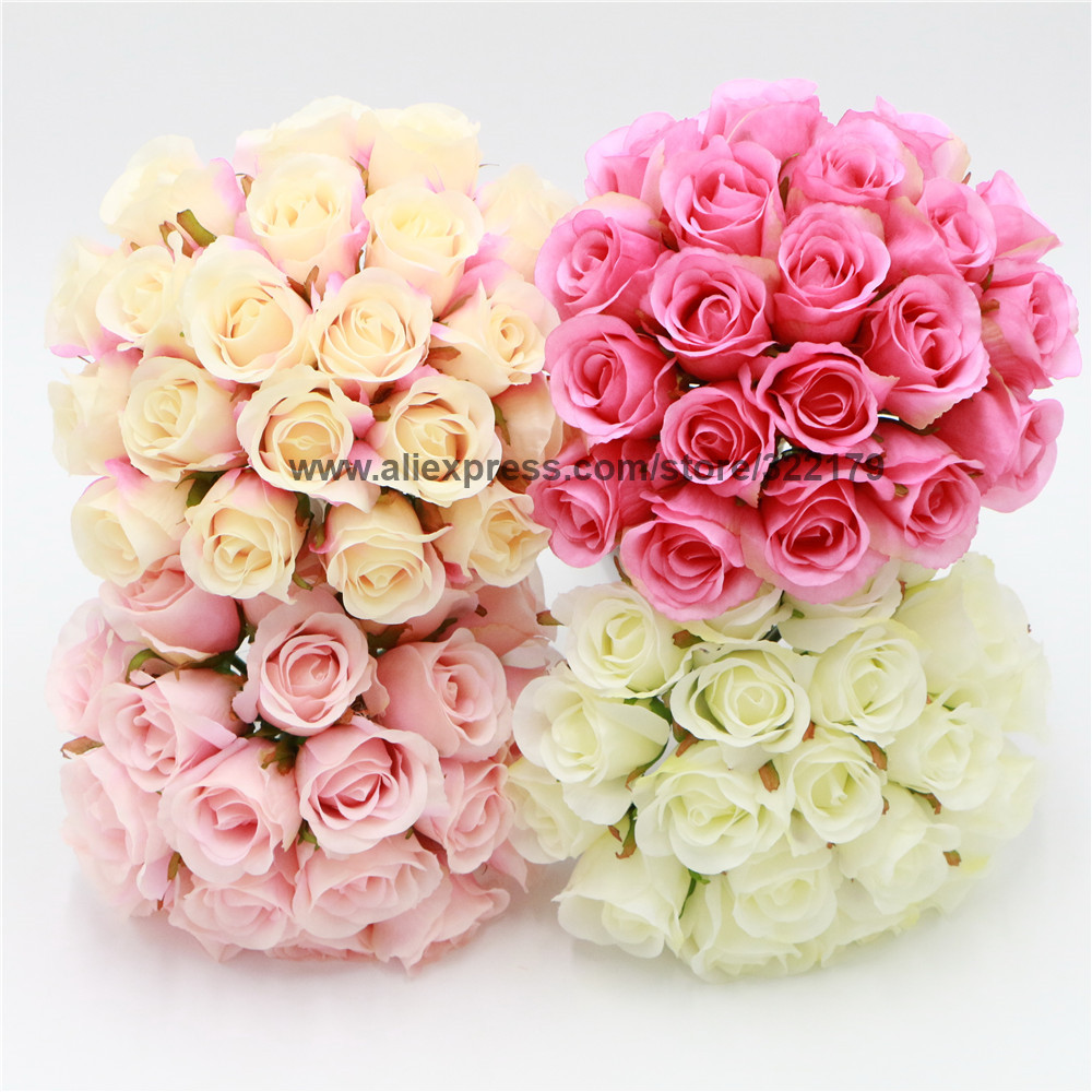 Silk Rose Buds Bouquet White Champagne Hot Pink Flowers For