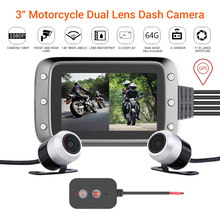 купить WONVON MT20 Dual DVR Motorcycle Camera 3IPS 1080P Moto GPS Dash Camera HD View Waterproof Moto Dash Cam Black Night Vision Box дешево