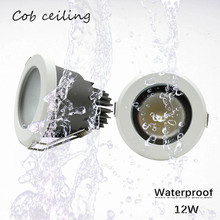 1 adet/grup gömülü LED su geçirmez Ip65 TOPAK tavan 12W AC85 265V banyo mutfak otel duş odası LED downlight
