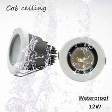 1pcs /lot  Embedded LED waterproof Ip65 cob ceiling 12W  AC85 265V Bathroom Kitchen Hotel shower room  LED downlight