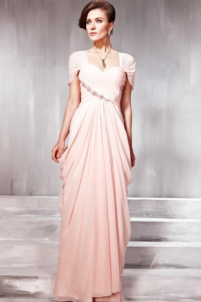 100% real robe de soiree cap sleeve long evening dress light pink evening  gowns chiffon vestido longo para festa party dress2015-in Evening Dresses  from ... 13d8f4674