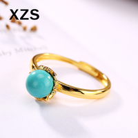 100% Authentic 925 Sterling Silver Turquoise Gold Rings China Style Vintage Hand Made For Women Luxury Gift Jewelry JZC 8041