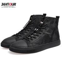 Новинка 2018 года; модная мужская повседневная обувь; камуфляжные ботильоны; мужские качественные черные мужские высокие парусиновые ботинк