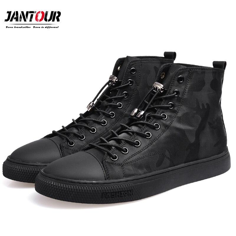 2018 Новая мода Для мужчин повседневная обувь камуфляжные ботильоны мужская обувь качество Черный Для мужчин военные высокие холщовые Для му