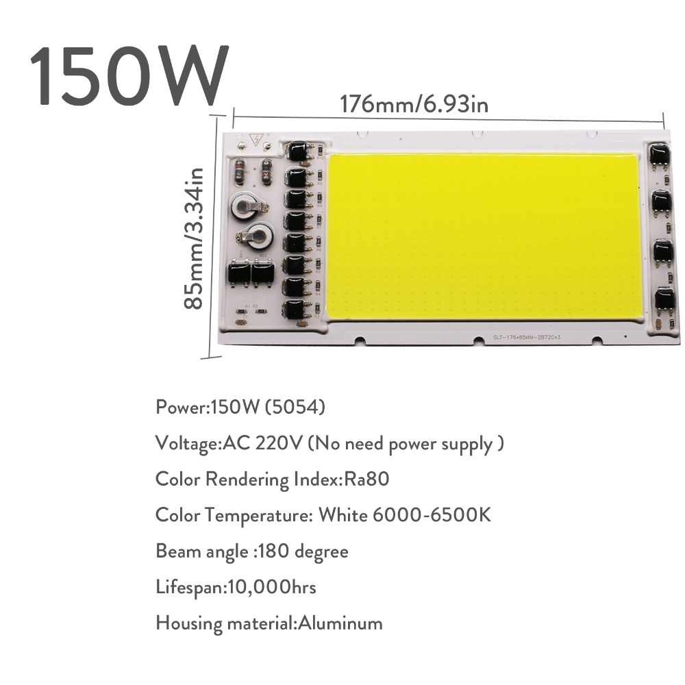 20W 50W 100W 150W COB Smart IC LED Chip Bead Lamp No Need Driver Cool White High Power AC 220V For DIY Floodlight Spotlight