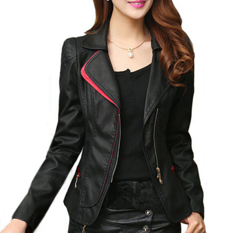 Leather   Jacket Women Black Red Plus Size 4XL 5XL Spring Autumn Winter Fashion Motorcycle PU Faux   Leather   Coat Female Outerwear